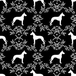 Great Dane floral silhouette dog fabric pattern black