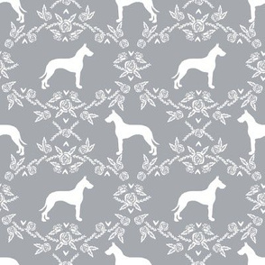 Great Dane floral silhouette dog fabric pattern grey