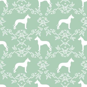 Great Dane floral silhouette dog fabric pattern mint