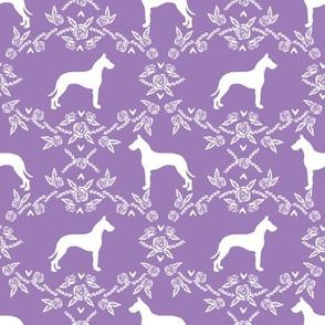 Great Dane floral silhouette dog fabric pattern purple