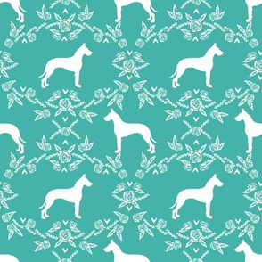 Great Dane floral silhouette dog fabric pattern turquoise