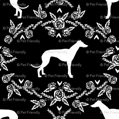 Greyhound floral silhouette dog fabric pattern black