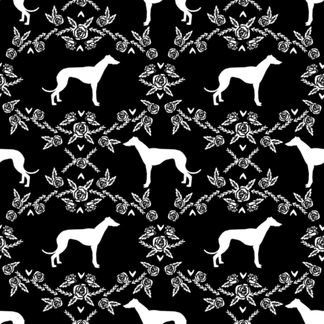 Greyhound floral silhouette dog fabric pattern black fabric by petfriendly on Spoonflower - custom fabric