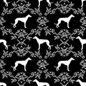 Greyhound floral silhouette dog fabric pattern black