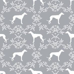 Greyhound floral silhouette dog fabric pattern grey
