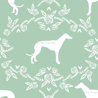 Greyhound floral silhouette dog fabric pattern mint