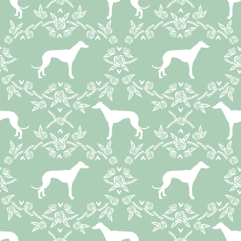 Greyhound floral silhouette dog fabric pattern mint fabric by petfriendly on Spoonflower - custom fabric