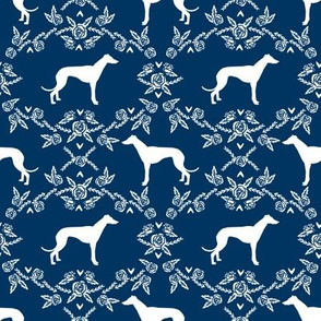 Greyhound floral silhouette dog fabric pattern navy