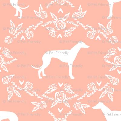 Greyhound floral silhouette dog fabric pattern peach