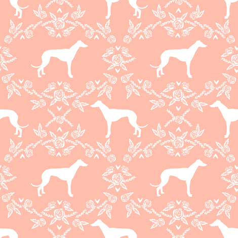 Greyhound floral silhouette dog fabric pattern peach fabric by petfriendly on Spoonflower - custom fabric