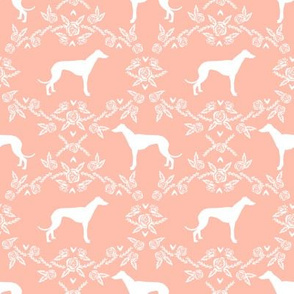 Greyhound floral silhouette dog fabric pattern peach