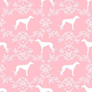 Greyhound floral silhouette dog fabric pattern pink