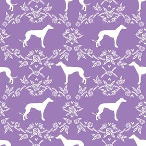 Greyhound floral silhouette dog fabric pattern purple