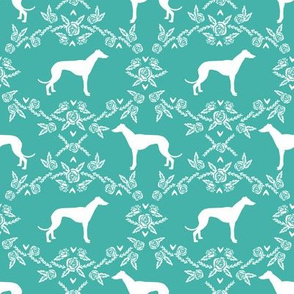 Greyhound floral silhouette dog fabric pattern turquoise