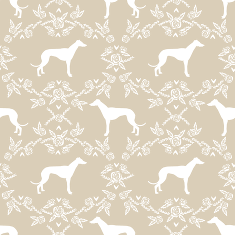 Greyhound floral silhouette dog fabric pattern  fabric by petfriendly on Spoonflower - custom fabric