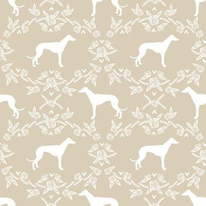 Greyhound floral silhouette dog fabric pattern
