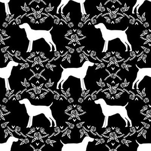 German Shorthair Pointer dog breed silhouette fabric floral black