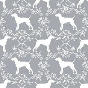 German Shorthair Pointer dog breed silhouette fabric floral grey