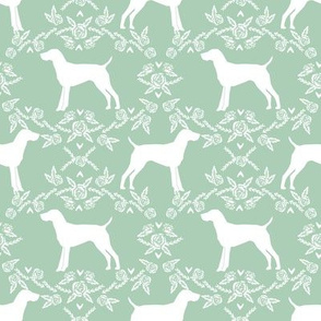 German Shorthair Pointer dog breed silhouette fabric floral mint