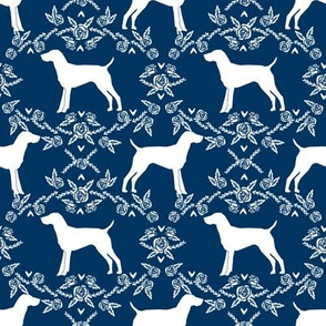 German Shorthair Pointer dog breed silhouette fabric floral navy
