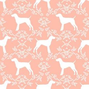 German Shorthair Pointer dog breed silhouette fabric floral peach