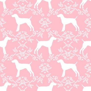 German Shorthair Pointer dog breed silhouette fabric floral pink