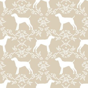 German Shorthair Pointer dog breed silhouette fabric floral sand