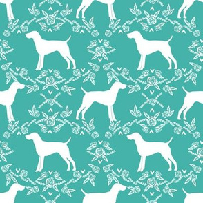 German Shorthair Pointer dog breed silhouette fabric floral turq
