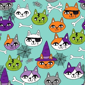 halloween cats fabric // spooky cute halloween fabric october fall kitty cat design - mint