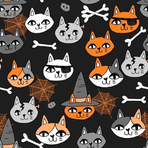 halloween cats fabric // spooky cute halloween fabric october fall kitty cat design - black