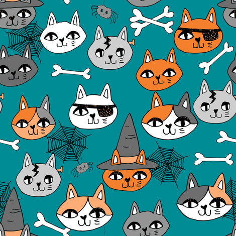 halloween cats fabric // spooky cute halloween fabric october fall kitty cat design - teal fabric by andrea_lauren on Spoonflower - custom fabric