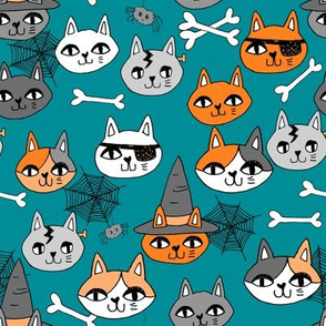 halloween cats fabric // spooky cute halloween fabric october fall kitty cat design - teal