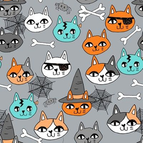 halloween cats fabric // spooky cute halloween fabric october fall kitty cat design - grey