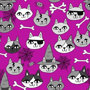 halloween cats fabric // spooky cute halloween fabric october fall kitty cat design - purple