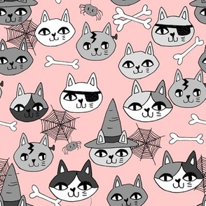 halloween cats fabric // spooky cute halloween fabric october fall kitty cat design - pink
