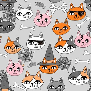 halloween cats fabric // spooky cute halloween fabric october fall kitty cat design - grey pink and orange