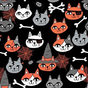 halloween cats fabric // spooky cute halloween fabric october fall kitty cat design - black and orange