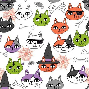 halloween cats fabric // spooky cute halloween fabric october fall kitty cat design - lime orange purple