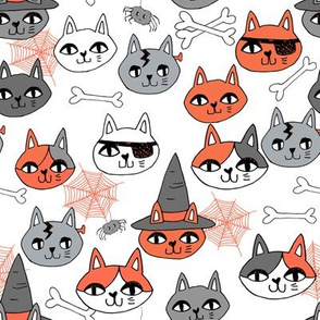 halloween cats fabric // spooky cute halloween fabric october fall kitty cat design - grey and orange