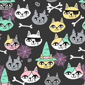 halloween cats fabric // spooky cute halloween fabric october fall kitty cat design - pastel
