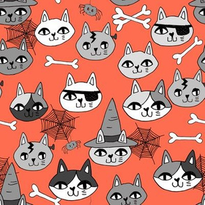 halloween cats fabric // spooky cute halloween fabric october fall kitty cat design - orange