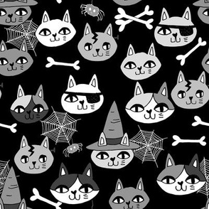 halloween cats fabric // spooky cute halloween fabric october fall kitty cat design - black and grey