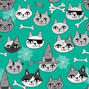 halloween cats fabric // spooky cute halloween fabric october fall kitty cat design - green