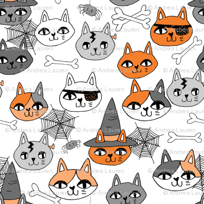 halloween cats fabric // spooky cute halloween fabric october fall kitty cat design - orange and white