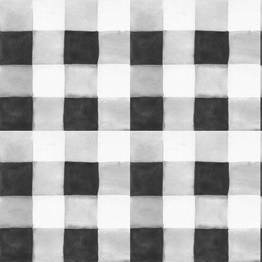WATERCOLOR GINGHAM BLACK AND WHITE NO SPOTS