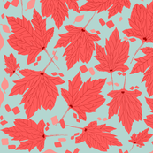 Bleached Aqua & Coral Leaves