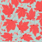 Bleached Aqua & Coral Leaves