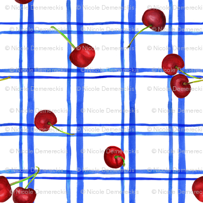 Watercolor Cherries Blue Plaid