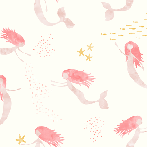 (medium scale) whimsical watercolor mermaids (warm) - peach fabric by littlearrowdesign on Spoonflower - custom fabric