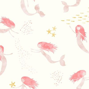 (medium scale) whimsical watercolor mermaids (warm) - peach